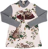 Dolce & Gabbana Floral- & Cat-Print Sweater-Sleeve Cotton Dress