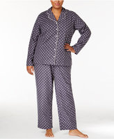 Alfani Plus Size Printed Flannel Pajama Set, Only at Macy's