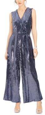 Donna Ricco V-Neck Belted Sequined Jumpsuit
