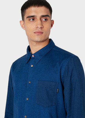 Paul Smith Men's Tailored-Fit Blue Brushed Cotton Shirt