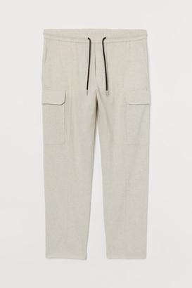 H&M Linen-blend Cargo Pants - White