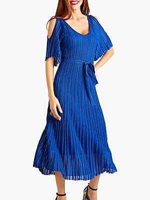 Yumi Cold Shoulder Midi Dress, Blue
