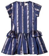 No Added Sugar Blue and Silver Stripe Peplum Party Dress