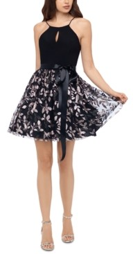 Blondie Nites Juniors' Glitter-Skirt Keyhole Dress