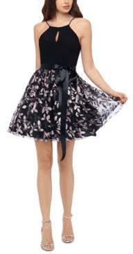 Blondie Nites Juniors' Glitter-Skirt Keyhole Dress