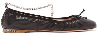 Miu Miu Crystal-anklet Leather Ballet Flats - Black