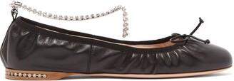 Miu Miu Crystal-anklet Leather Ballet Flats - Womens - Black