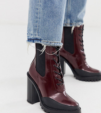 Asos Design DESIGN Wide Fit Ellen chunky lace up boots in burgundy-Red