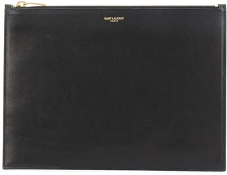 Saint Laurent Large Embossed Logo Clutch