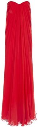 Alexander McQueen Strapless Draped Maxi Dress