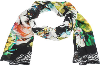 Roberto Cavalli Multicolor Abstract Floral Print Silk Stole