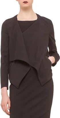 Akris Punto Long-Sleeve Draped-Front Jacket, Black
