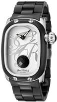 Glam Rock Women's GR72015 Monogram White Enamel Dial Black Ceramic Watch