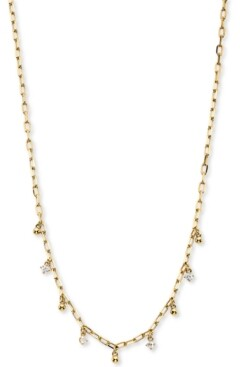 """AVA NADRI Cubic Zirconia & Bead Shaky Charm Necklace, 14"""" + 1"""" extender"""