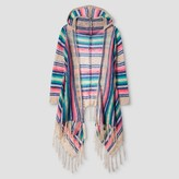 Say What Girls' Fringe Hooded Cardigan - Pink/ Turquoise