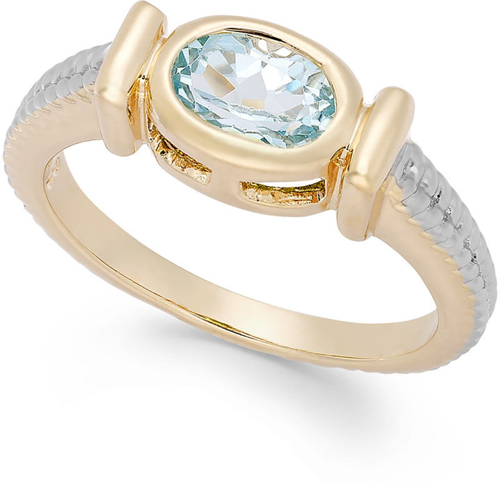 Townsend Victoria Blue Topaz Cable Ring in 18k Gold over Sterling Silver (1-1/10 ct. t.w.)