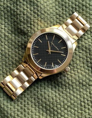 ASOS DESIGN bracelet watch with textured face in gold tone