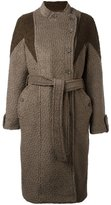 Diesel dislocated fastening belted coat - women - Wool/Polyester/Cotton - S