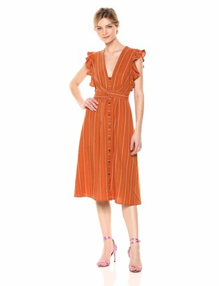 ASTR the Label Women's Saturate Midi Length Casual Button Down Belted Dress