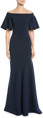 Theia Off-the-Shoulder Ruffle-Sleeve Gown