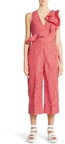 MSGM Women's Ruffle Stripe Cotton Jumpsuit