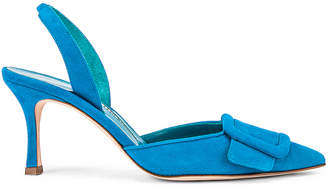 Manolo Blahnik Suede May 70 Slingback in Asiago Turquoise | FWRD