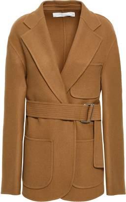 Victoria Beckham Belted Brushed Wool And Cashmere-blend Jacket