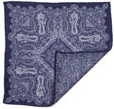 Black Navy and White Double Faced Linen and Cotton Pocket Square