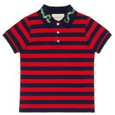 Gucci Boy's Embroidered Snake Collar Polo