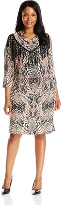 MSK Women's Plus-Size 3/4 Sleeve Cowl Neck Fringe Dress Pink/Grey Small