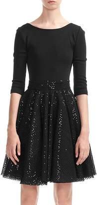 Maje Romy Sequined-Skirt Dress