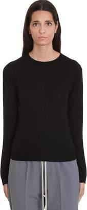 Rick Owens Biker Round Nec Knitwear In Black Cashmere
