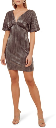 ASTR the Label Metallic Plunge Neck Mini Dress