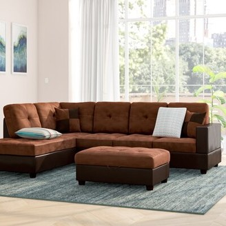 Ebern Designs Mauzy Left Hand Facing Sectional with Ottoman Upholstery: Brown