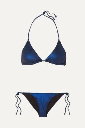 Les Girls Les Boys - Classic Metallic Triangle Bikini - Blue