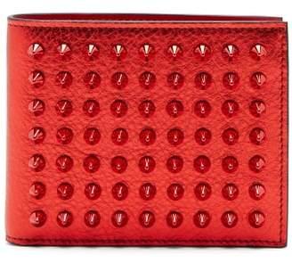 Christian Louboutin Coolcard Studded Metallic Leather Bi Fold Wallet - Womens - Red