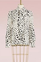 Marc Jacobs Wavy Spot Crepe de Chine Tie Neck Long Sleeve Blouse