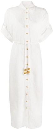 Zimmermann Embroidered Floral Shirt Dress