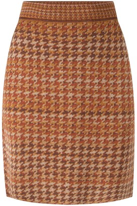 Studio Myr Knitted Knee Length Pencil Skirt In Pieds-De-Poule Pattern Tweed-Ginger