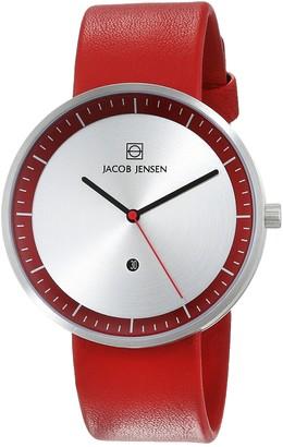 Jacob Jensen Unisex Analogue Quartz Leather Strap Strata Mens Red Watch 273