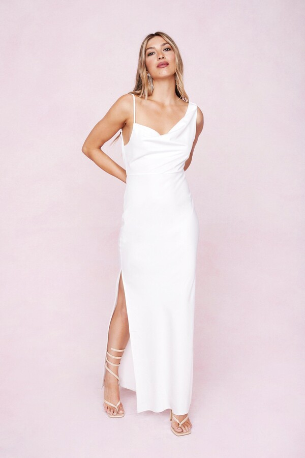 Thumbnail for your product : Nasty Gal Womens One Shoulder Cowl Neck Satin Maxi Dress - White - 4