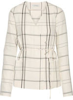 Protagonist Checked Twill Wrap Top - Ivory