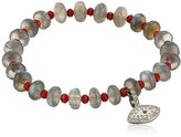 Azaara Evil Eye Diamond, Labradorite, Crystal and Ruby Charm Stretch Bracelet (1/3cttw, I2-I3 Clarity), 3""