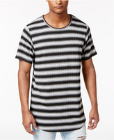 Jaywalker Men's Ribbed Stripe Extended-Hem T-Shirt, Only at Macy's