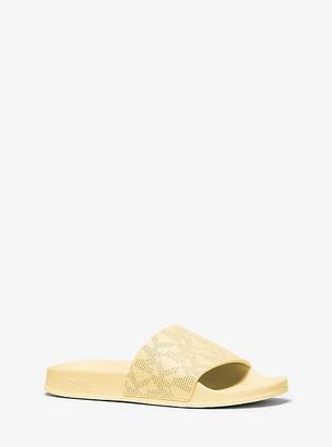 MICHAEL Michael Kors MK Gilmore Logo Leather Slide Sandal - Buttercup - Michael Kors
