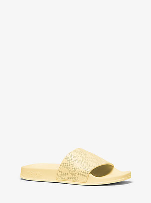 MICHAEL Michael Kors MK Gilmore Logo Leather Slide Sandal - Pale Blue - Michael Kors