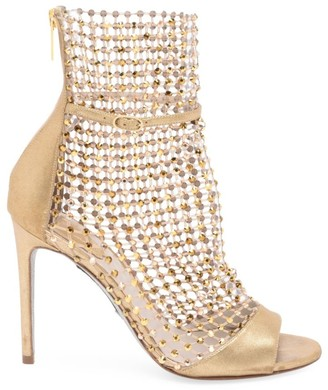 Rene Caovilla Galaxia Crystal Mesh Metallic Leather Sandals