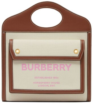 Burberry Mini Leather and Canvas Pocket Bag