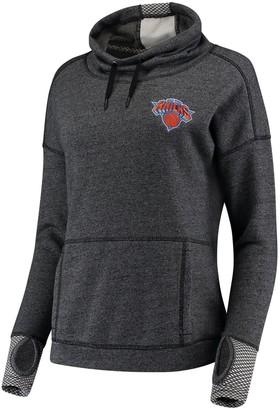 Antigua Women's Heathered Black New York Knicks Snap Cowl Neck Pullover Sweatshirt