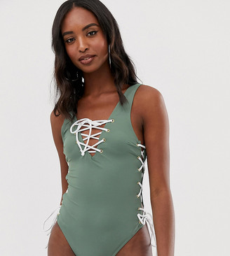 Asos Tall DESIGN Tall recycled contrast lace up front and side swimsuit in khaki-Green